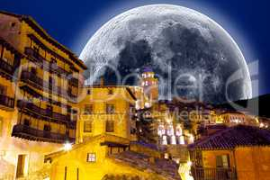Full moon scenery.Village scenical .Looking at the stars.