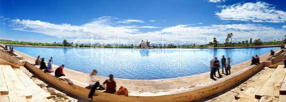 Scenical Menara garden.Travel to morocco.