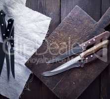 used kitchen knives, top view