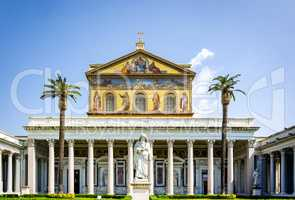 The main facade of the Basilica of Saint Paul outside the walls in Rome