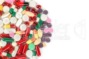 Assorted pharmaceutical medicine pills, tablets and capsules iso