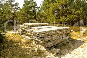 historic concrete slabs of the German Nazi in Poland