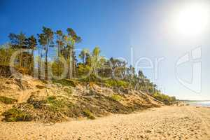 Baltic Sea in Poland with pines and dunes