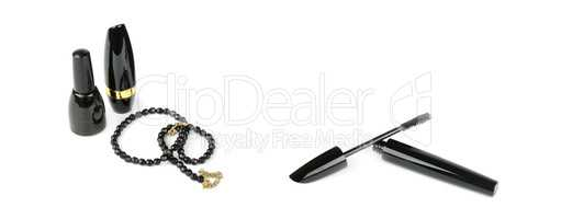 Cosmetics and beads isolated on white background. Wide photo.
