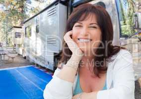 Attractive Middle Aged Woman Outdoor Portrait In Front of Class