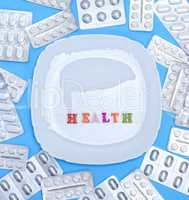square white ceramic plate and health inscription