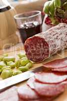Close up of Italian salami