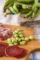 Cold meats and broad bean