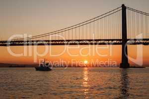 Oakland Bay Bridge during the sunrise, San Francisco, California