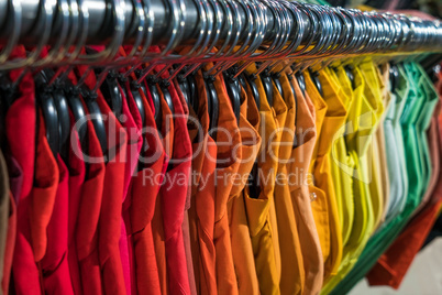 Male Mens Shirts on Hangers in Thrift Shop or Wardrobe Closet Ra