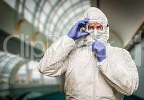 Man With Intense Expression Wearing HAZMAT Protective Clothing I