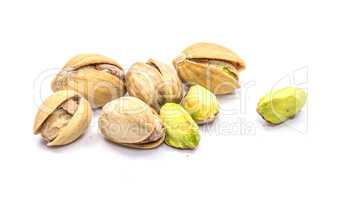 Salted pistachio isolated on white
