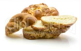 Braided bread loaf isolated on white
