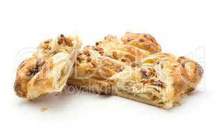 Sweet bread twist isolated on white