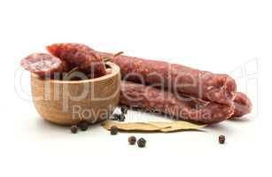 Hungarian dry sausage isolated on white