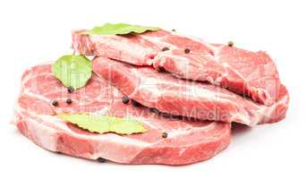 Raw pork meat isolated on white