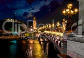 Night over bridge Alexandre III
