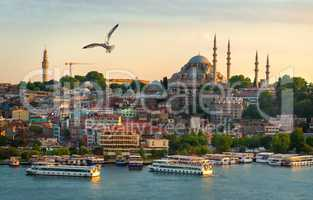 Sunset in Istanbul city