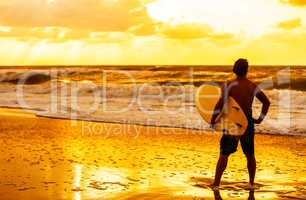 Male Man Surfer & Surfboard Sunset Sunrise Beach