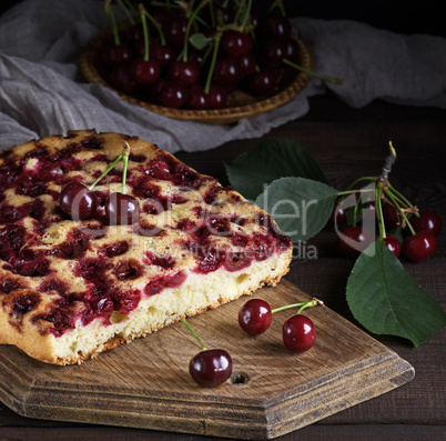 piece of a biscuit pie with cherries
