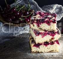 square biscuit slices of a pie with cherries