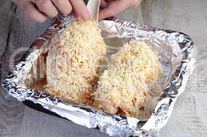 Chicken roll in breadcrumbs
