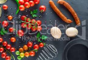 ingredients for cooking scrambled eggs, top view