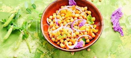 Bowl of vegan salad