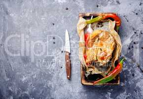 Baked meat with spices