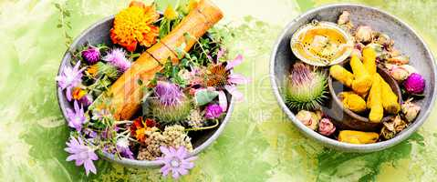 Healing herbs with mortar