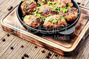 Delicious meatballs in cast iron skillet
