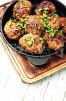 Meatballs in cast iron skillet