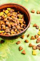Pet food in bowl