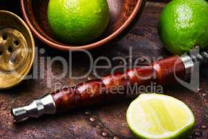 Oriental hookah shisha with lime