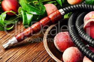Oriental hookah shisha with peach