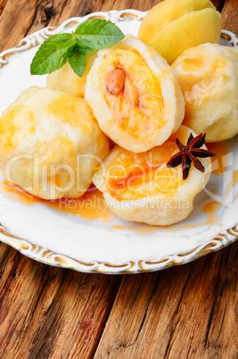 Fruit dumplings with apricot