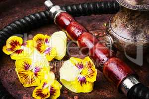 Asian tobacco hookah with flower aroma