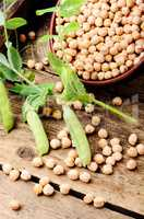 Uncooked chickpeas grains in bowl