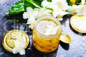 Homemade jam with jasmine flowers