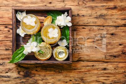 Homemade jam with jasmine flowers