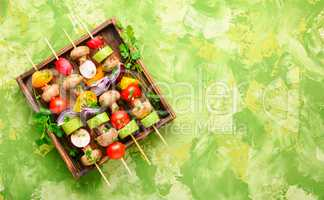 Raw vegetables on skewers