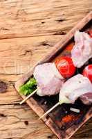 Uncooked raw kebab