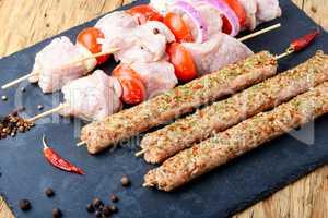 Marinated pork kebab on stick