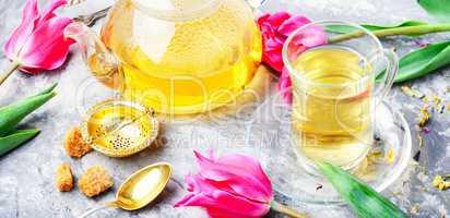Herbal tea and spring tulip