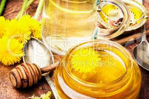 Honey from dandelion flowers