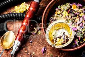 Asian tobacco hookah with floral tea aroma