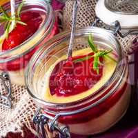 for breakfast fresh semolina pudding with cinnamon and plums