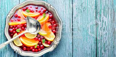 Fruity punch in bowl