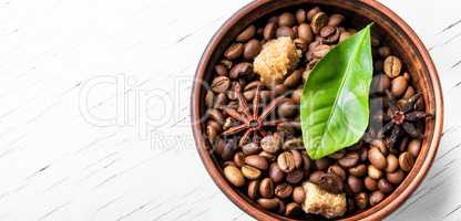 coffee roasted bean and leaves