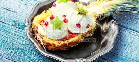 Ice cream in pineapple